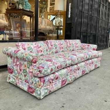 Floral Frenzy   Mid-century Tuxedo Sofa with Floral Print