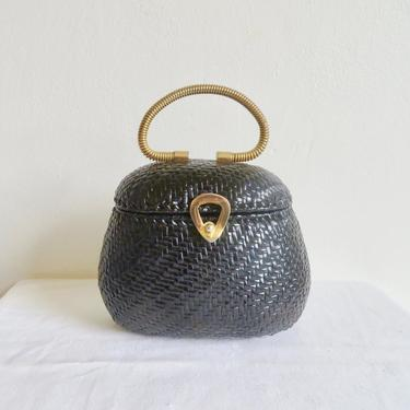 Vintage 1960's Round Black Woven Wicker Purse Gold Metal Top Handle Closure Hardware Koret Mod Italian Basket Handbag Made in Italy by seekcollect