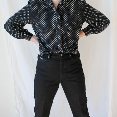 Vintage Liz Claiborne/ Vintage Long Sleeve Blouse/ Polka Dot Shirt/ 1980's/ Button Up/ Petite Medium by highwvintage