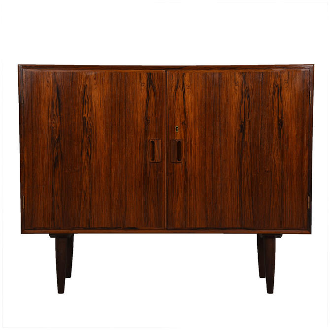 Danish Modern Rosewood Locking Door Cabinet / Bar
