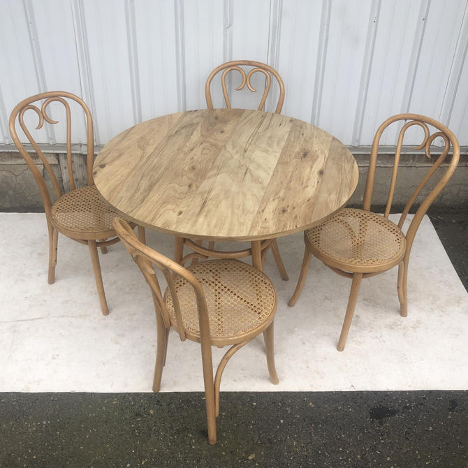 Boho Modern Dining Set With Four Cane & Bamboo Chairs by secondhandstory