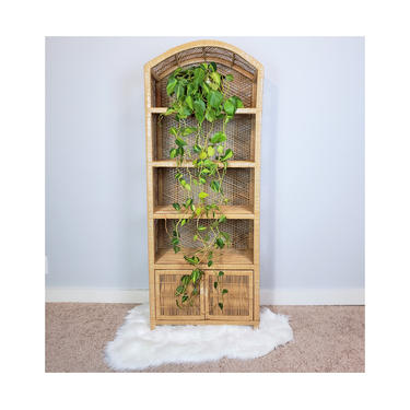 FREE SHIPPING! Vintage Rattan Shelf with Cupboard | Boho Wicker Etagere Cabinet | Tan Arched Bookshelf | MCM Shelving Bookcase by SavageCactusCo