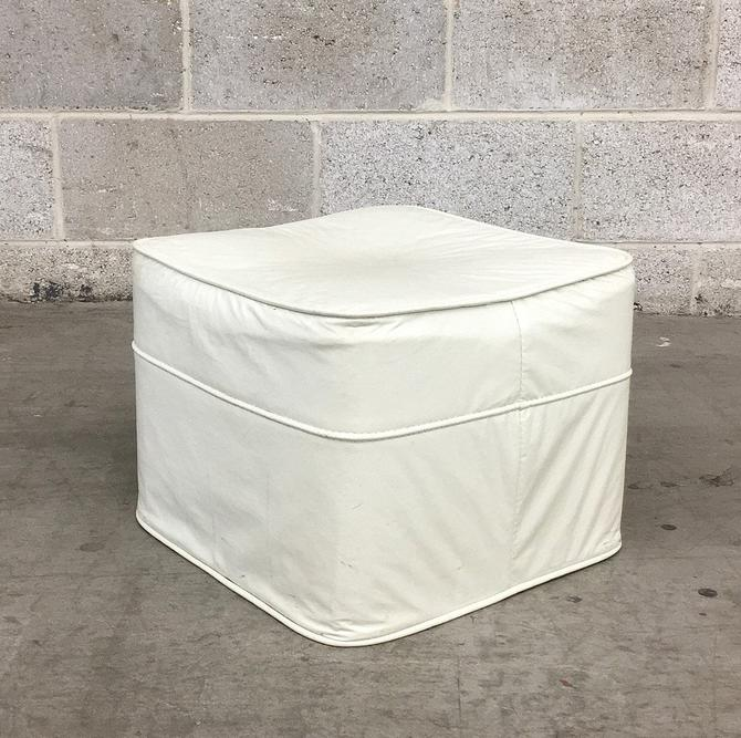 Vintage Ottoman Retro 1970s White Vinyl + Cushioned Footstool + Square Shape + Extra Seating + Modern and Contemporary Home Decor by RetrospectVintage215