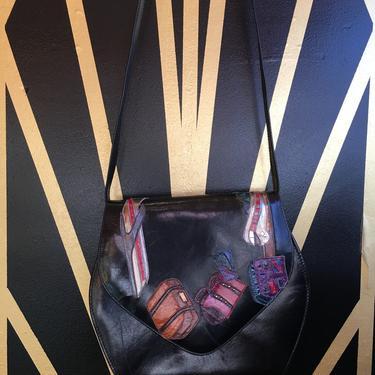 black leather purse, 1980s shoulder bag, novelty print purse, travel print, airplane, train luggage, vintage 80s purse, Margaret j, Spain by BlackLabelVintageWA