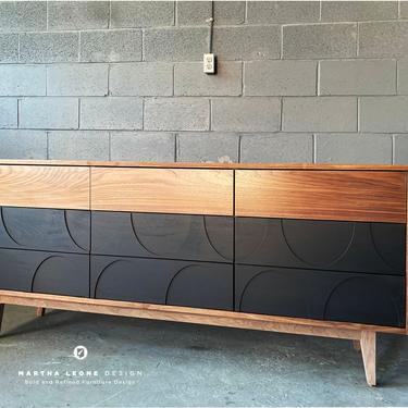 New Hand-Crafted Walnut 9-Drawer Dresser with wood relief design with your choice of leg color and drawer hardware! by MarthaLeoneDesign