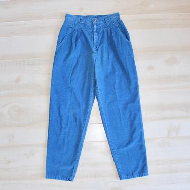 Vintage 80s Levi's Corduroy Pants, 1980s High Waisted Jeans, Tapered Leg, Royal Blue, Retro, Pleated, Levis by WildwoodVintage