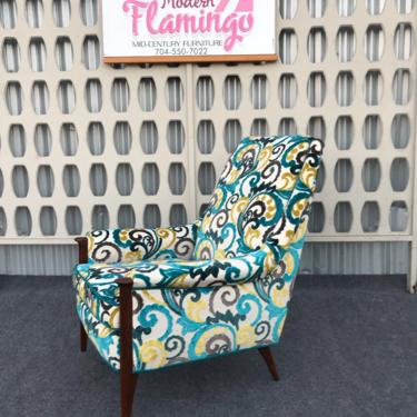 Super Cute Mid Century Modern High Back Upholstered Lounge Chair by ModernFlamingo