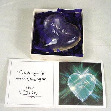 Olivia Newton-John Gift Acrylic Heart For Crew Memebers by HarveysonBeverly