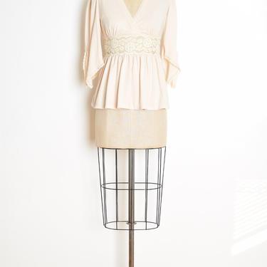 vintage 70s top cream crochet hippie boho flutter bell sleeve blouse shirt XS S clothing by huncamuncavintage