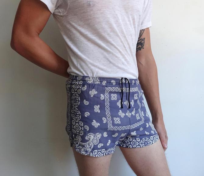 Vintage 60s Bandana Print Swim Trunks/ 1960s Blue Handkerchief Paisley Shorts/ Bathing Suit/ XS by bottleofbread