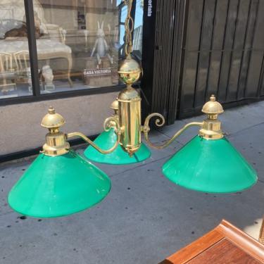 Blessings Commence   Brass Tri-light Chandelier