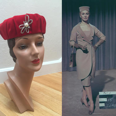 From The Terrace - Vintage 1960s Candy Apple Red Velvet Gathered Pill Box Hat w/Silver Bow by RoadsLessTravelled2