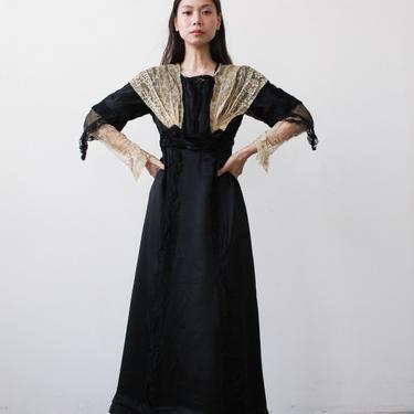 antique edwardian black satin walking dress by blossomvintageshop