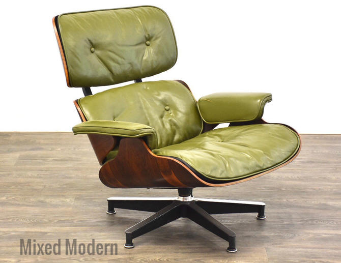 Eames 670 Rosewood Green Leather Lounge Chair by mixedmodern1