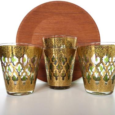 Set Of 4 Culver Large 12oz Valencia Double Old Fashioned Cocktail Glasses, Culver Tapered 22kt Gold And Green Barware - 2 sets Available by HerVintageCrush