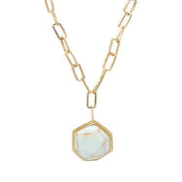 One-of-a-Kind Pale Blue Stoned Enamel Gem Necklace