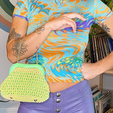 Key Lime Green 60's Beaded Handbag