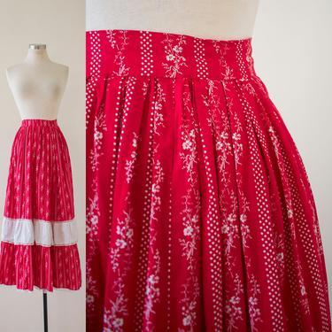 Vintage 1970s Prairie Skirt / Red and White Skirt / Vintage Prairie Skirt / Red Floral Skirt / Floral Prairie Skirt / 1970s Prairie Skirt by milkandice