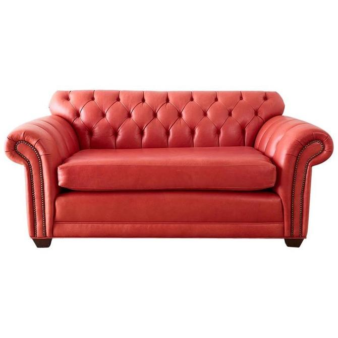 Coral Red Leather Tufted Chesterfield Sofa Settee by ErinLaneEstate