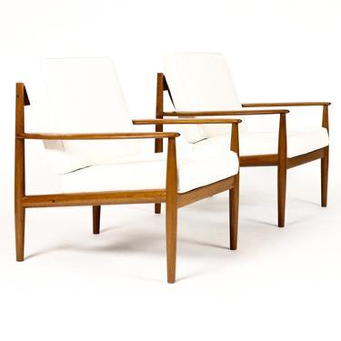 Danish Modern / Mid Century Teak Lounge Chairs Model 118 – Grete Jalk for France + Son — Neutral Linen – Pair by atomicthreshold