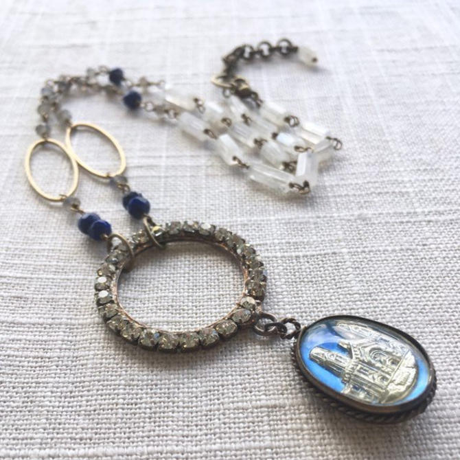 Cathedral of Industry [assemblage necklace: vintage pressed glass, vintage rhinestone, brass, lapis, moonstone, labradorite] by nonasuch