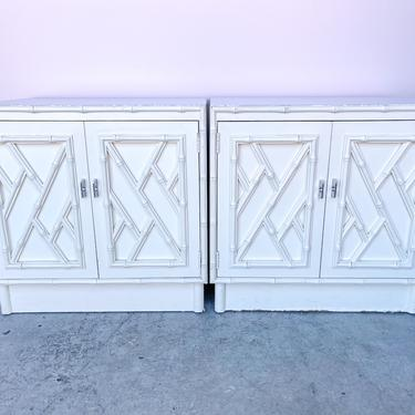Pair of Faux Bamboo Chippendale Nightstands