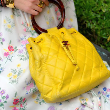 Vintage CHANEL Tortoise Handle CC Turnlock Logo Drawstring Yellow Lambskin Matelasse Quilted Leather Tote Shoulder Bag Purse Evening Clutch by MoonStoneVintageLA