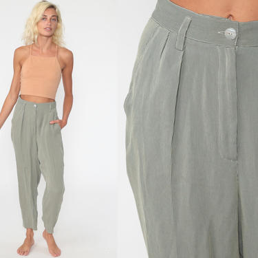 Pinstripe Trousers High Waisted Striped Pants 90s High Waist PLEATED Baggy Tapered Leg Beige Black 1990s Vintage Rayon Small 26 by ShopExile