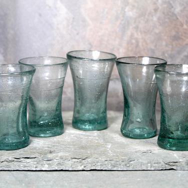 Set of 5 Biot Blown Glass Shot Glasses - 2/3oz Small Shot Glass - Aqua Blue Blown Glass Barware With Bubbles   FREE SHIPPING by Bixley