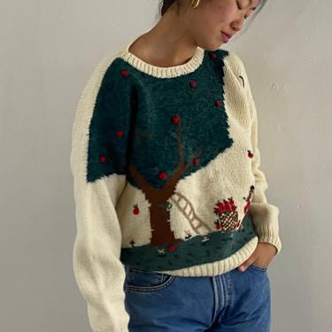 80s hand knit scenic sweater / vintage ivory wool scenic apple tree landscape novelty hand knit embroidered sweater | L by RecapVintageStudio