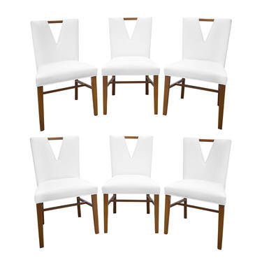 Paul Frankl Set of 6 Plunging Neckline Dining Chairs 1950s