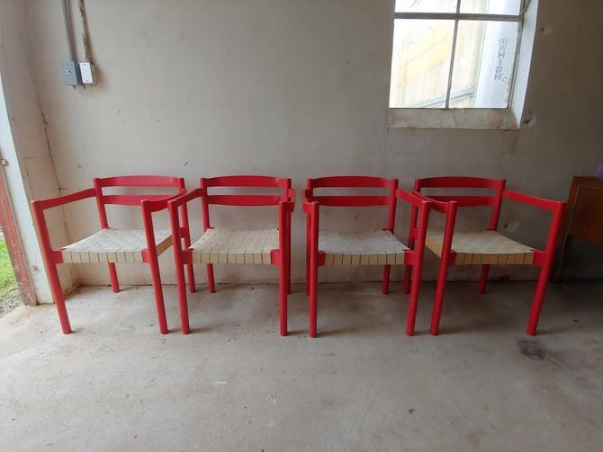 Danish Modern Red Dining Chairs Designed by Niels Jorgen ...