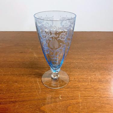 Vintage Fostoria Glass Versailles Blue Parfait Glass Stem 5098 Etch 278 by OverTheYearsFinds