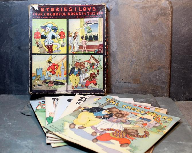 Set of 6 Stories I Love Books by Platt & Munk Publishers, 1932/1934 - Antique Fairy Tales - Peter Rabbit, Three Little Pigs, Peter Pan by Bixley