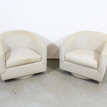Pair of Mid-Century Modern Swivel Club Chairs on Platform base by AnnexMarketplace