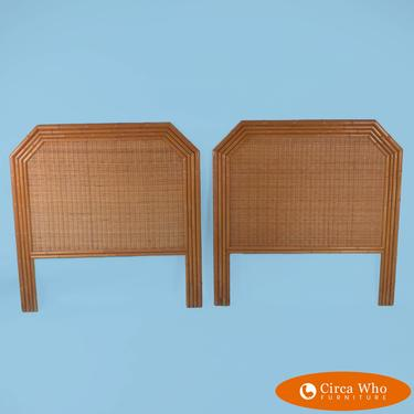 Pair of Faux Bamboo Woven Rattan Twin Headboards