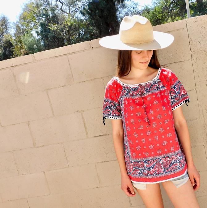 Bandana Blouse // vintage 70s 1970s red cotton boho hippie dress hippy // S/M by FenixVintage