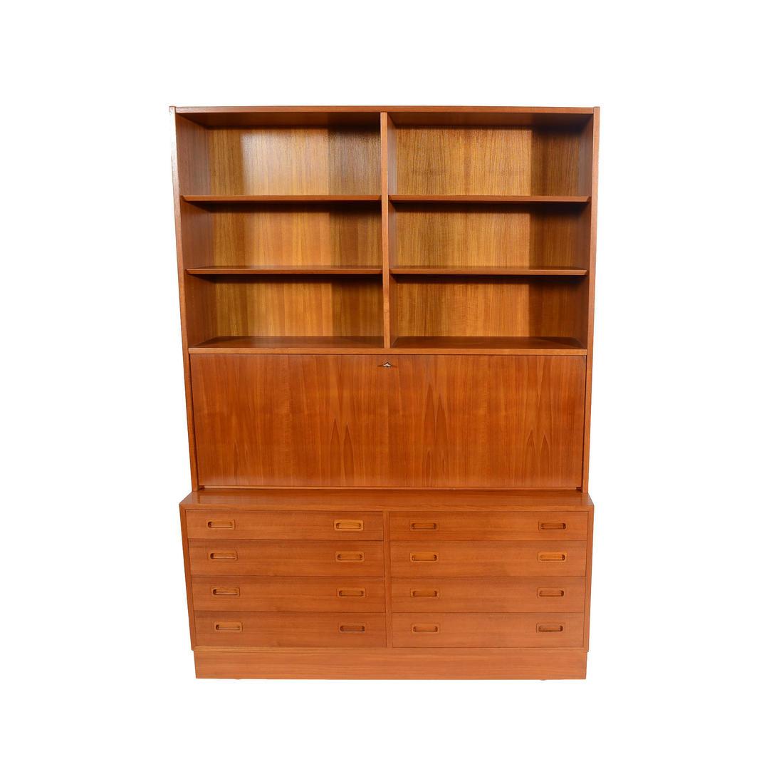 Teak Wall Unit Desk Bookcase Drawers Hundevad Danish