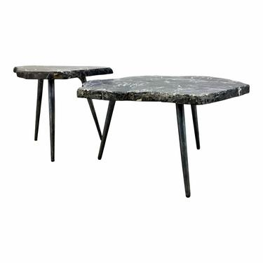 Arteriors Modern Black Stone Tashi Bunching Cocktail Tables Set of Two