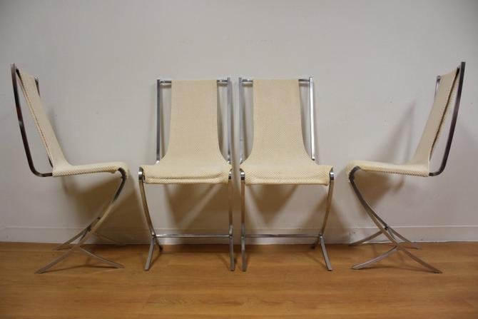 Pierre Cardin Chrome Sling Dining Chairs - Set of 4 by mixedmodern1