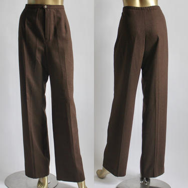 Chocolate Brown High Waist Flat Front Trousers 1980's by BeggarsBanquet