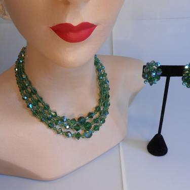Can't See the Forest From the Trees - Vintage 1950s Forest Green Aurora Borealis Cut Crystal 3 Strand Necklace w/Clip Earrings by RoadsLessTravelled2