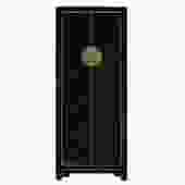 Chinese Oriental Distressed Black Lacquer Moonface Slim Storage Cabinet cs5155S