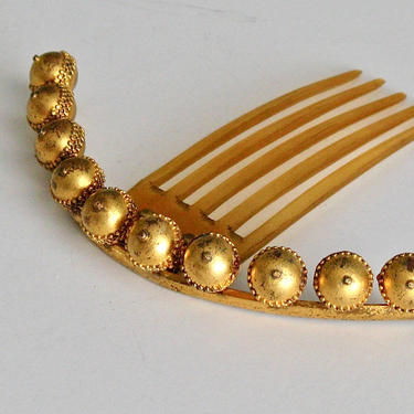 Victorian Gilt Brass Ball Ornaments Hinged Tiara Comb, Antique Hair Comb, Hair Jewelry, Bridal Comb by CombAgain