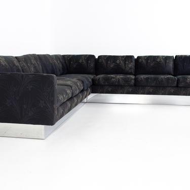 Milo Baughman Style Mid Century Chrome Base Sectional Sofa - mcm by ModernHill