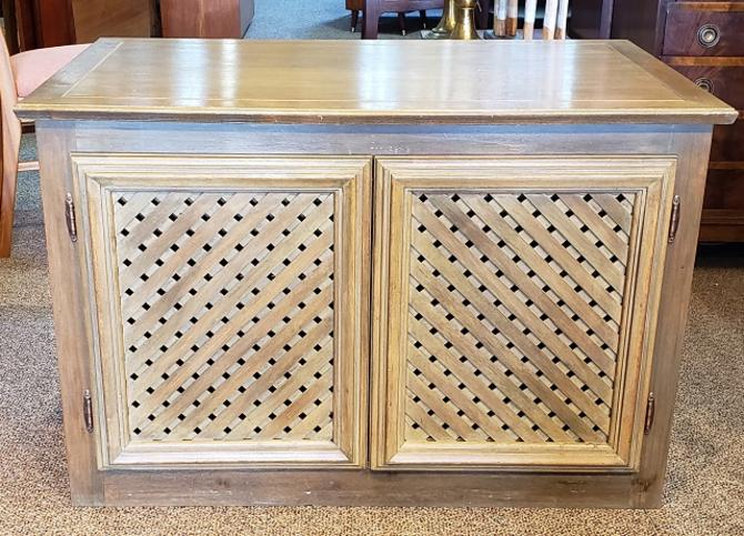Item #LM2 Vintage Cabinet w/ Pull Out Drawers & Lattice Work Sides c.1970s