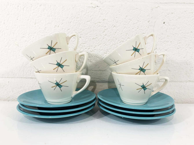 True Vintage Salem North Star Set of Six Coffee Cups Saucers Hopscotch Mid Century Atomic Aqua Blue Atomic China MCM Mad Men Tea 1960s 60s by CheckEngineVintage