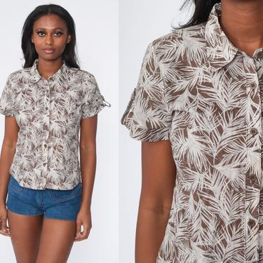 Feather Print Shirt Novelty Print Blouse Boho 70s Disco Shirt Hippie Bohemian 1970s Short  Sleeve Vintage Button Up Top Brown Small S by ShopExile