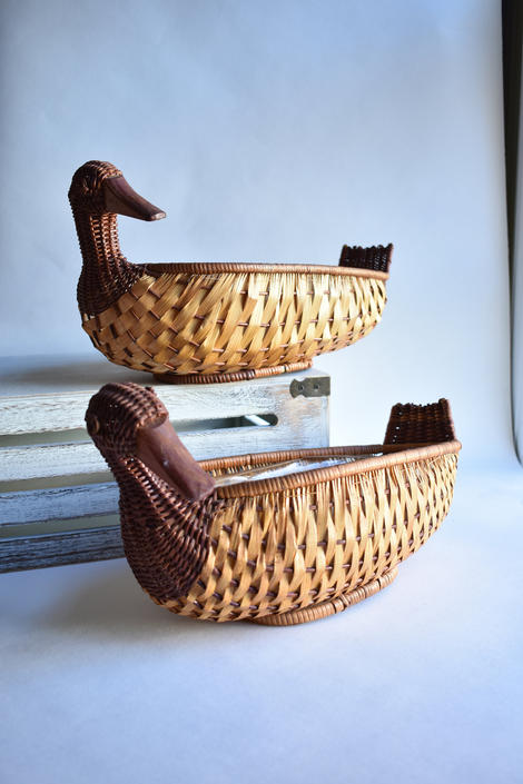 Pair of Lined Duck Baskets | Lined for Floral Centerpiece | Wicker Rattan Woven Figural Basket by LostandFoundHandwrks