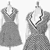 Vintage 1950s Style Dress   80s 1980s Black White Chevron Striped Cotton Fit and Flare Beetlejuice Day Dress with Pockets (small/medium) by BirthdayLifeVintage